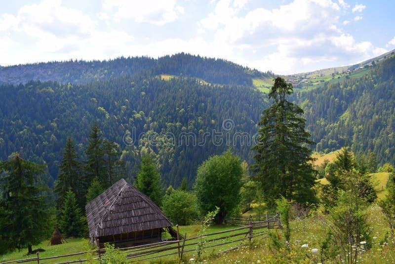 在小山的Transsylvania村庄 图库摄影
