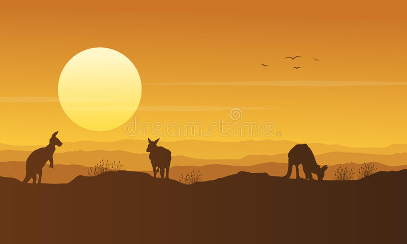 在小山秀丽风景剪影的袋鼠 向量例证