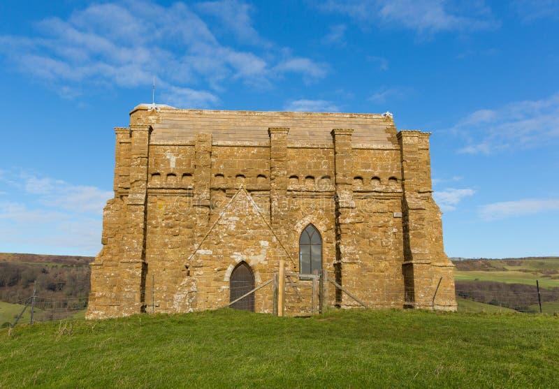 在小山顶部的St凯瑟琳` s教堂Abbotsbury多西特英国英国教会 库存图片