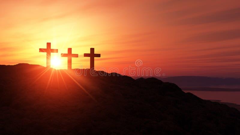在小山2的三个十字架 皇族释放例证
