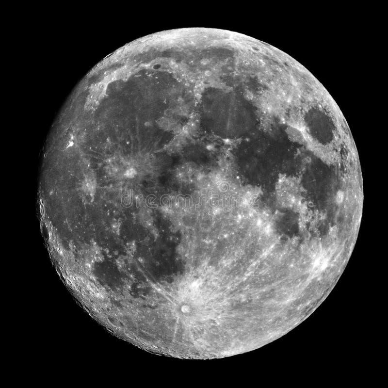 在小望远镜的满月 库存图片