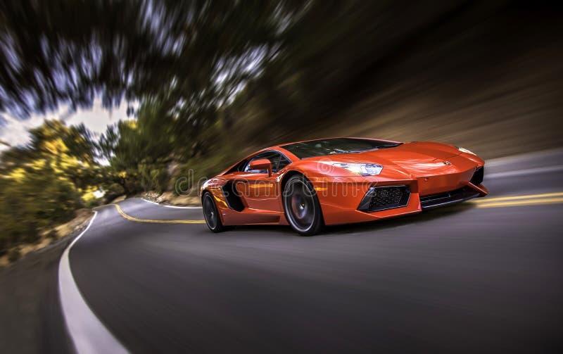 在小橡树峡谷的Lamborghini Aventador 库存图片