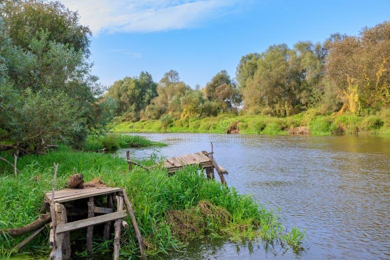 在小河岸的老木渔桥梁 河风景在晴朗的秋天早晨 免版税库存图片