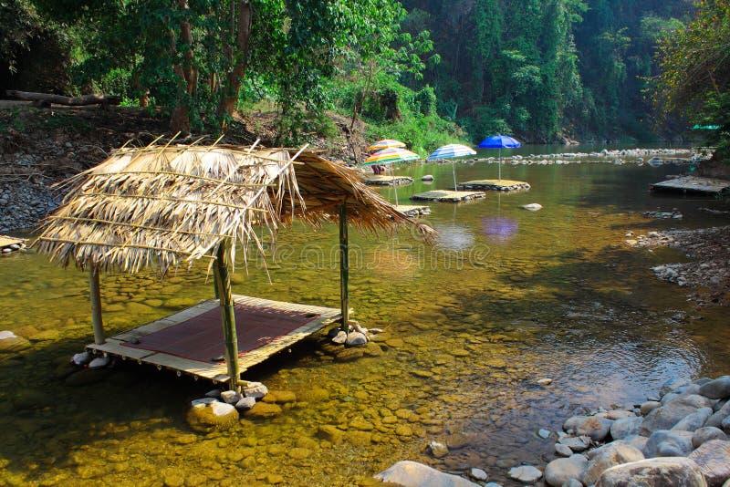 在小河的小屋宁静的在度假 库存图片