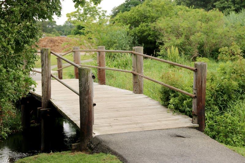 在小河的木桥 库存图片