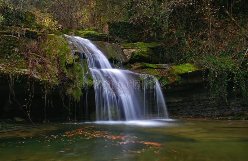 在小河的瀑布 库存照片