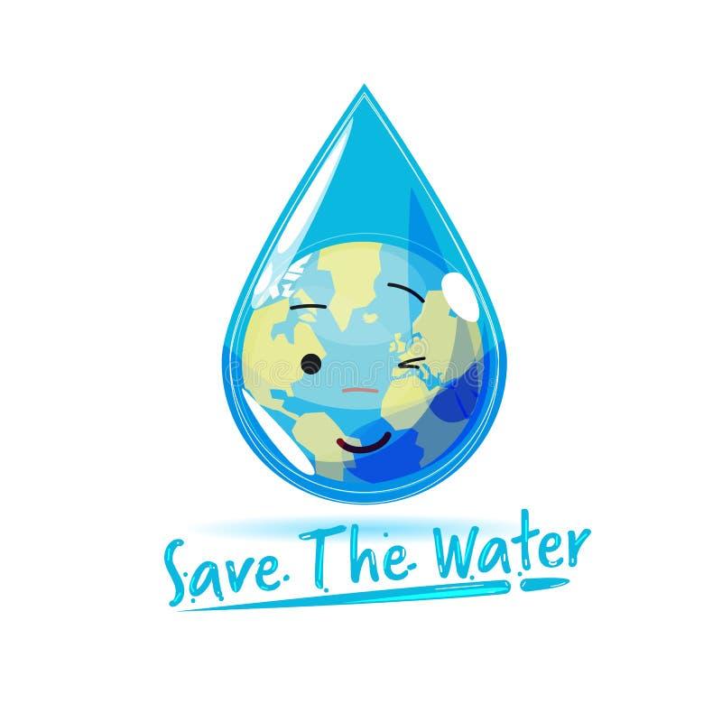 在小滴里面的世界地球与文本'节约水'在可变的样式 向量例证