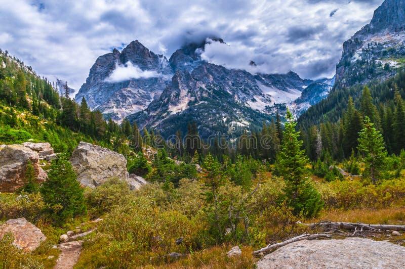 在小瀑布峡谷的供徒步旅行的小道-大蒂顿国家公园 免版税库存照片