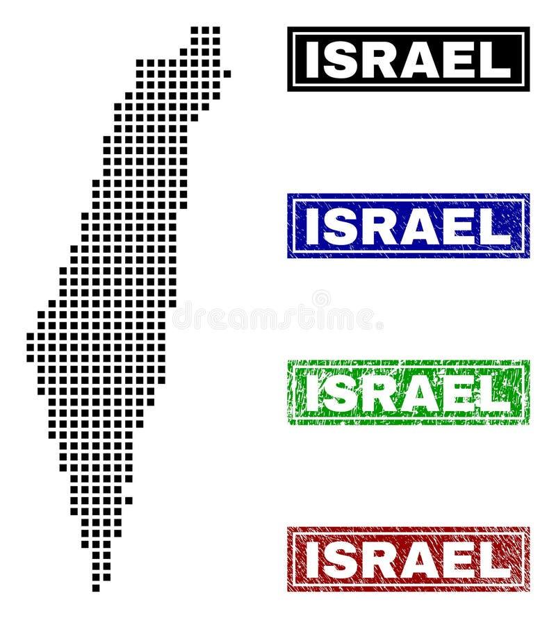 在小点样式的以色列地图与难看的东西名字邮票 库存例证