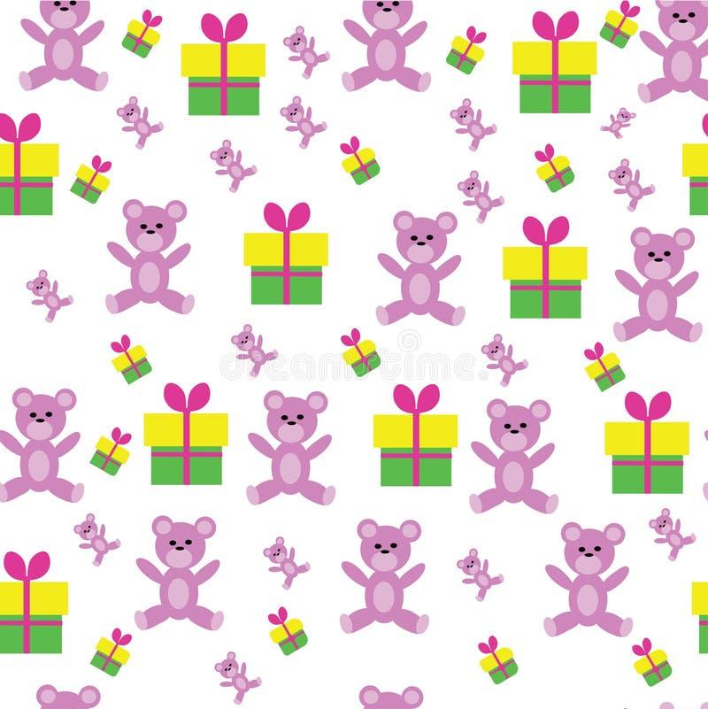 在小玩具熊的逗人喜爱的花卉样式 库存图片