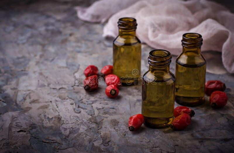 在小瓶的狗玫瑰精油 库存照片