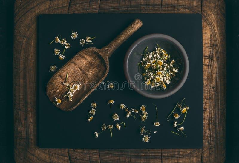 在小的碗和木铁锹匙子的干春黄菊花在黑暗的黑板背景,顶视图 医治草本 库存图片