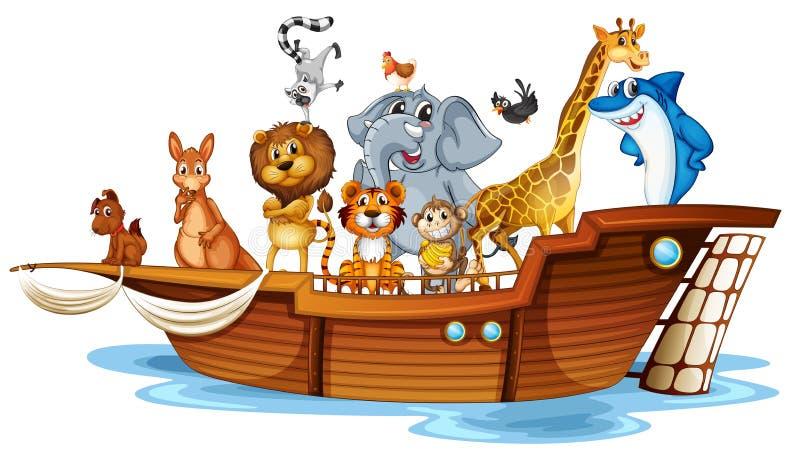 在小船的动物 向量例证