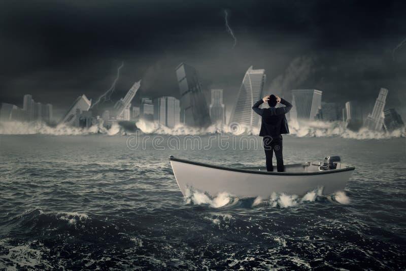 在小船的失去的商人 图库摄影