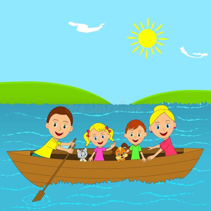 在小船的愉快的家庭 向量例证