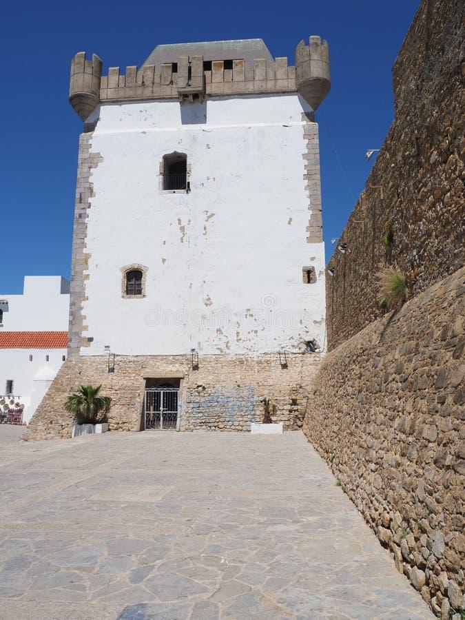 在小艾希拉镇的非洲人麦地那的阿拉伯堡垒塔在摩洛哥-垂直 免版税库存图片