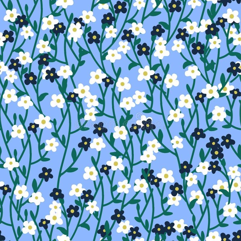 在小花的无缝的样式 库存例证