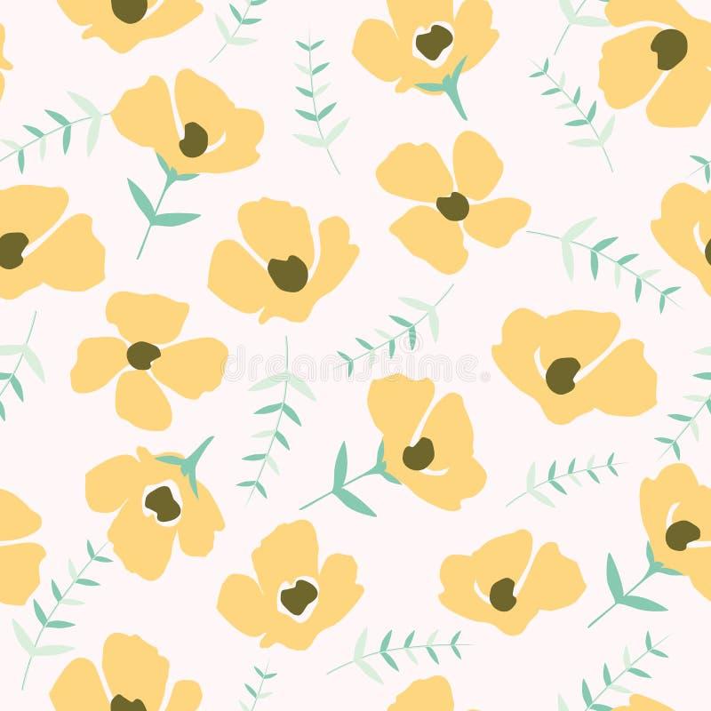 在小花的花卉样式 无缝的纹理向量 皇族释放例证