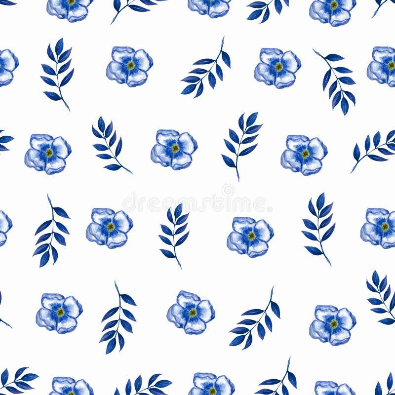 在小花的逗人喜爱的花卉样式 无缝的手水彩纹理 时尚印刷品的典雅的模板 打印与非常 向量例证