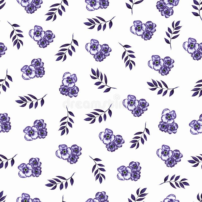 在小花的逗人喜爱的花卉样式 无缝的手watercolo 向量例证