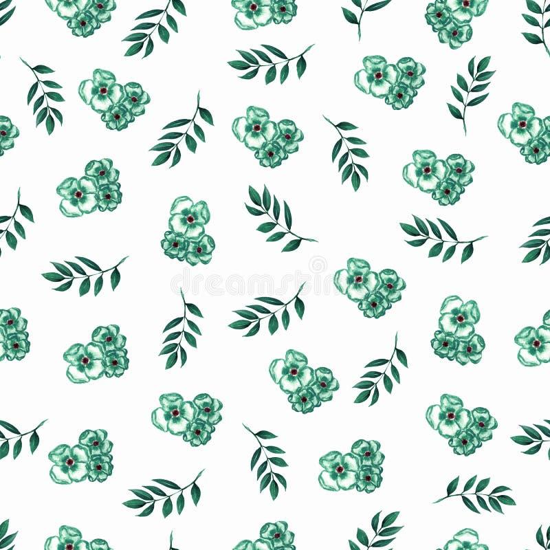 在小花的逗人喜爱的花卉样式 无缝的手watercolo 库存例证