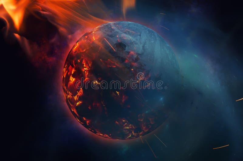 在小行星冲击以后的爆炸的行星 向量例证