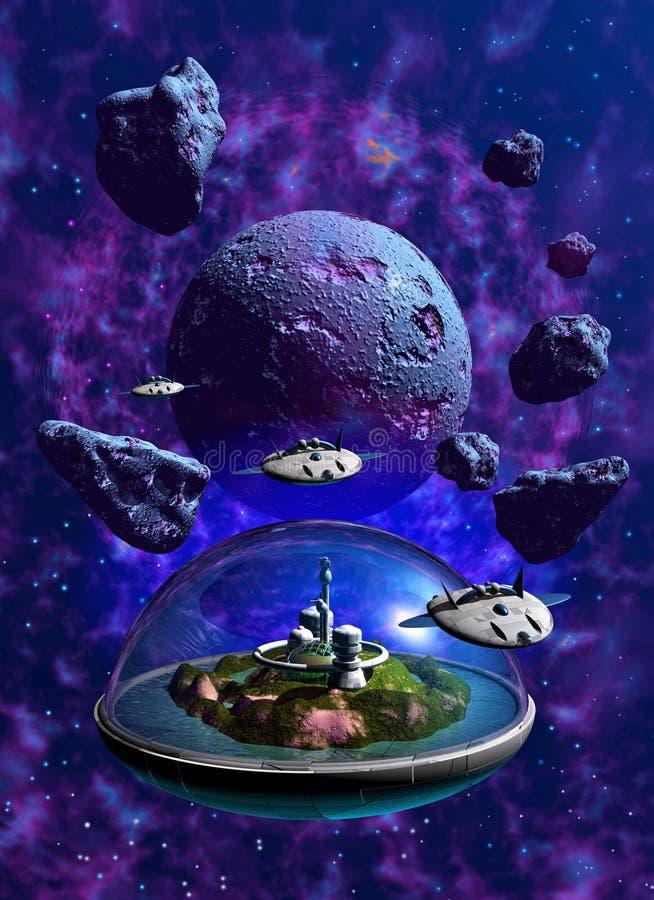 在小行星领域中间的太空飞船巡逻 向量例证