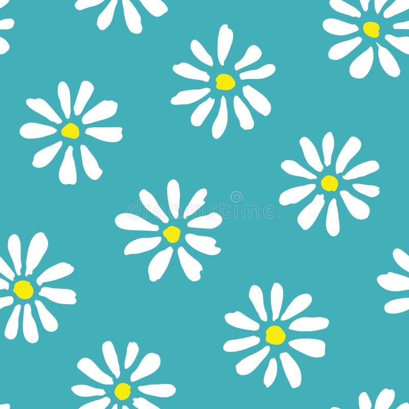 在小野鸭背景传染媒介无缝的啪答声的最小的逗人喜爱的手画雏菊 春天夏天花卉图案 库存例证
