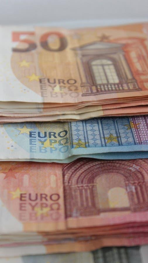 在小钞票的欧洲货币 库存图片