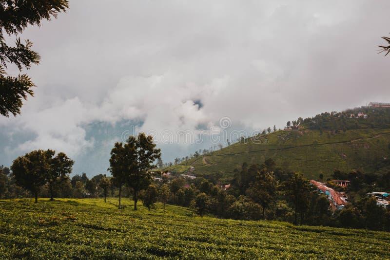 在小镇附近的一个美好的绿色领域和在小山的多云天空 库存照片