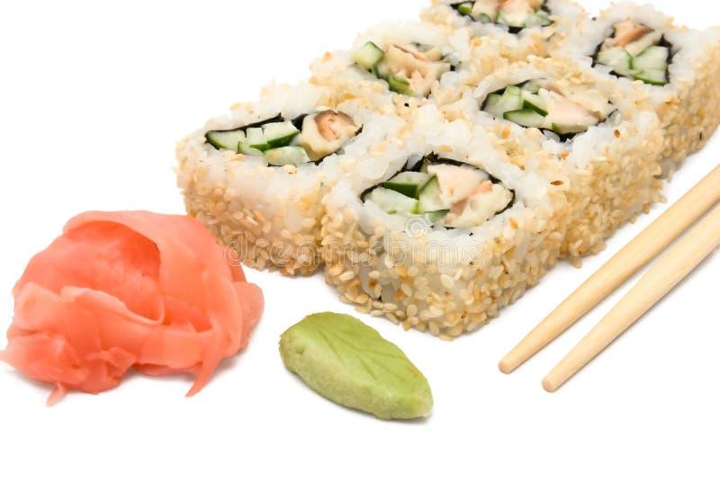 在小组的寿司卷 免版税库存图片