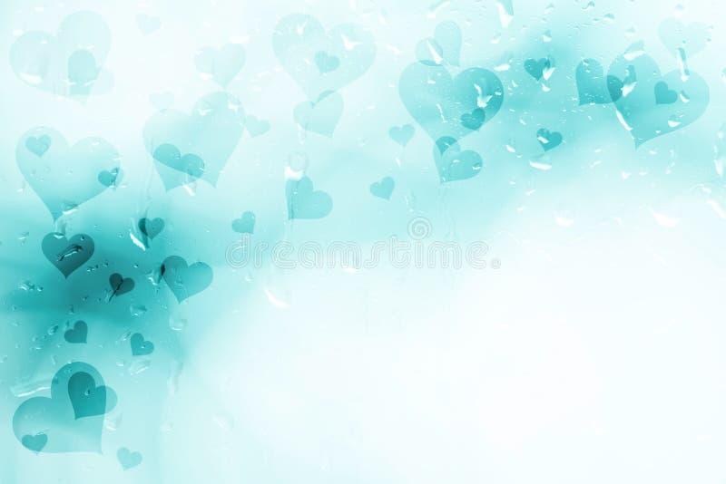 在小滴窗口背景的深蓝蓝色心脏 皇族释放例证