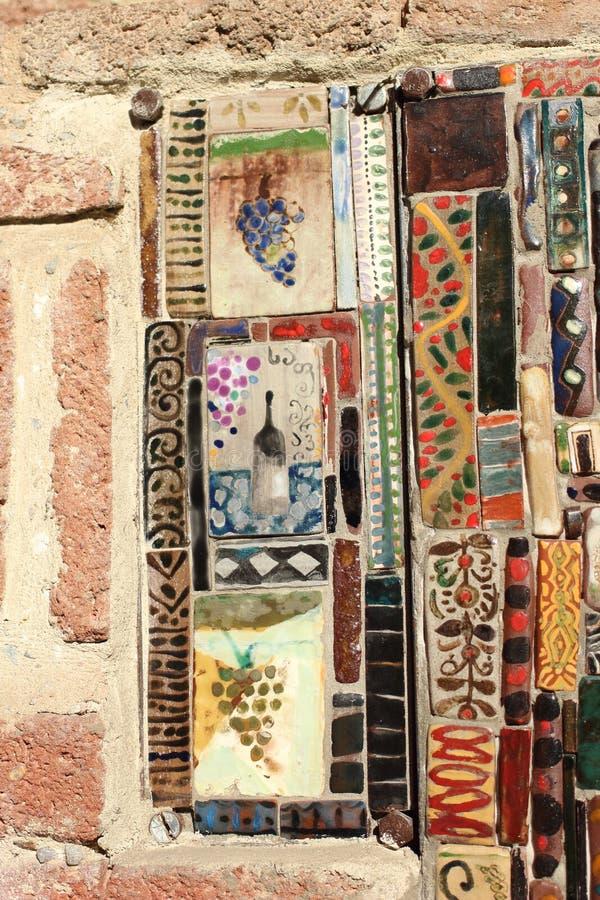 在尖沙咀钟楼在第比利斯市, Georgiatiles的色的瓦片 免版税库存照片