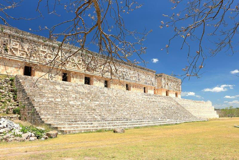 在尤卡坦半岛的乌斯马尔废墟 库存图片