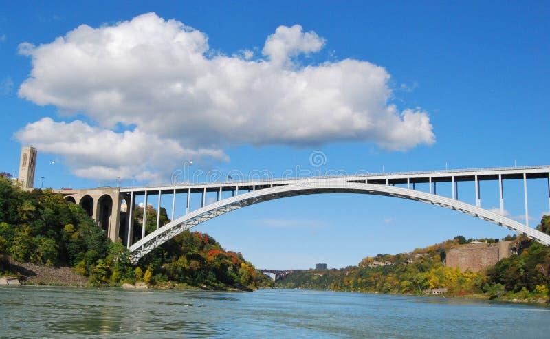 在尼亚加拉大瀑布美国和加拿大Bo的彩虹桥梁 图库摄影