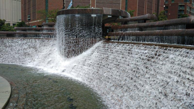 在尼古拉斯J的喷泉 Melas百年广场在芝加哥 图库摄影