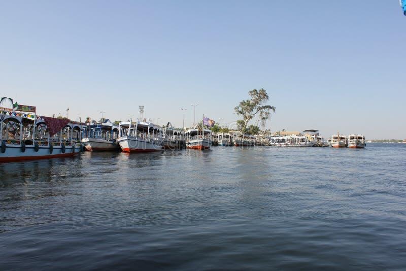 在尼罗河的小船 库存照片