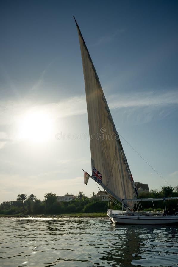 ?? 在尼罗的船在卢克索 库存图片