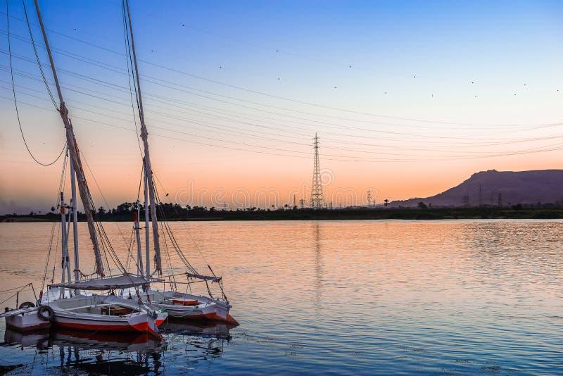 在尼罗的被停泊的小船 库存照片
