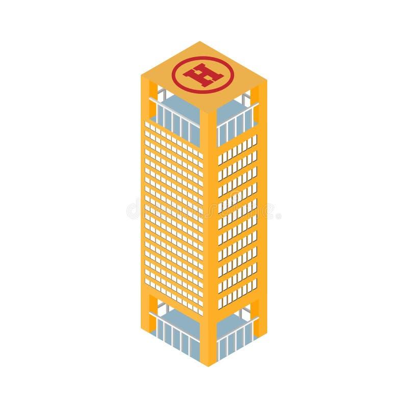 在屋顶停机坪的平的3d等量摩天大楼商业中心 背景查出的白色 对比赛,象 库存例证