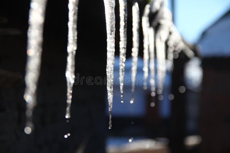 在屋顶的冬天冰 免版税库存图片