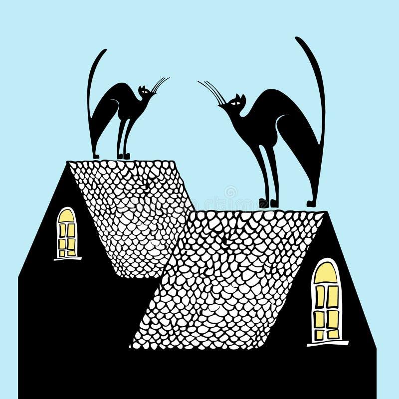 在屋顶的猫,传染媒介例证 向量例证