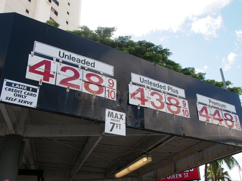 在屋顶的边的昂贵的汽油价格显示 免版税库存照片
