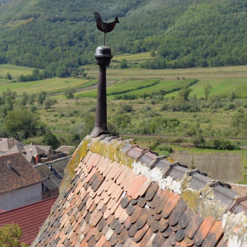 在屋顶的风向在弗劳恩多尔夫,罗马尼亚 免版税库存图片