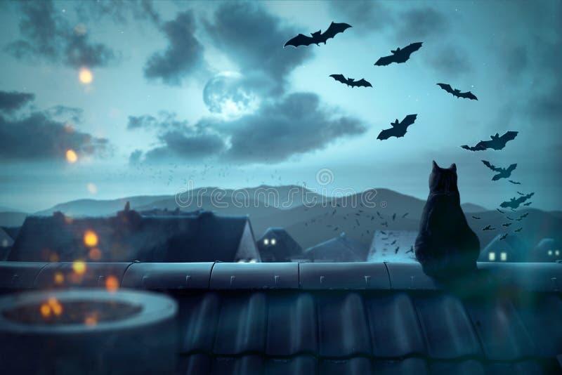 在屋顶的鬼的大气 免版税库存图片