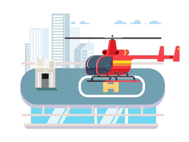 在屋顶的直升机 向量例证