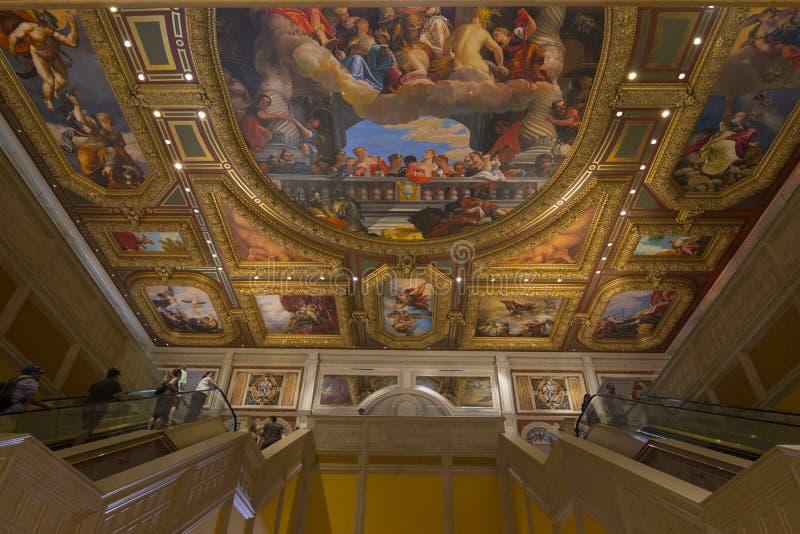 在屋顶的绘画威尼斯式在西斯廷教堂以后被称呼 库存图片