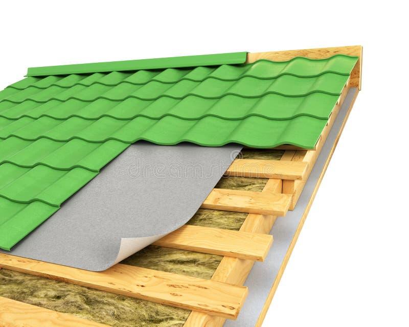在屋顶的绝缘材料 库存例证