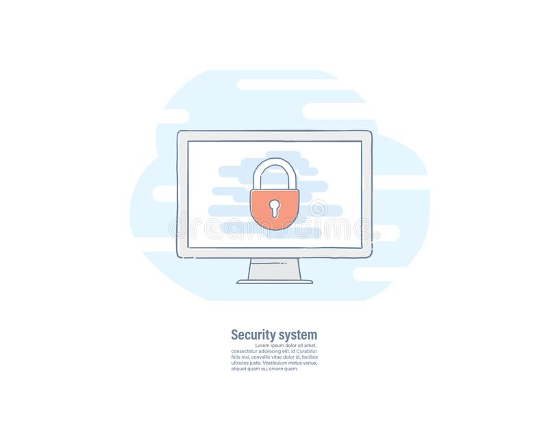 在屏幕上的关键锁象 传染媒介例证手拉的线平的设计 保护计算机 安全网络的概念 库存例证