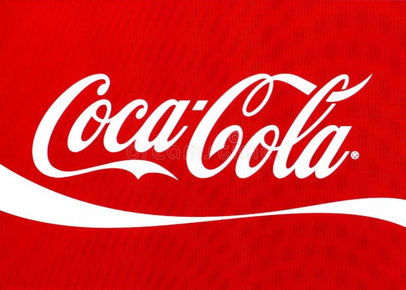 在屏幕上的可口可乐商标 免版税库存照片